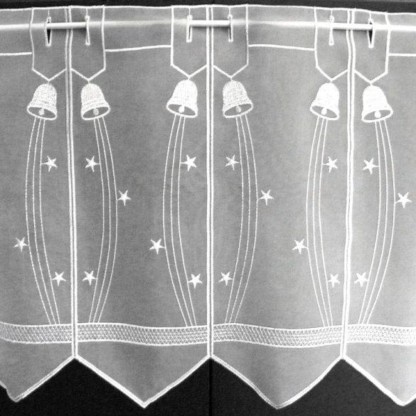 HARANG, fehér-ezüst, karácsonyi hímzett vitrázs függöny