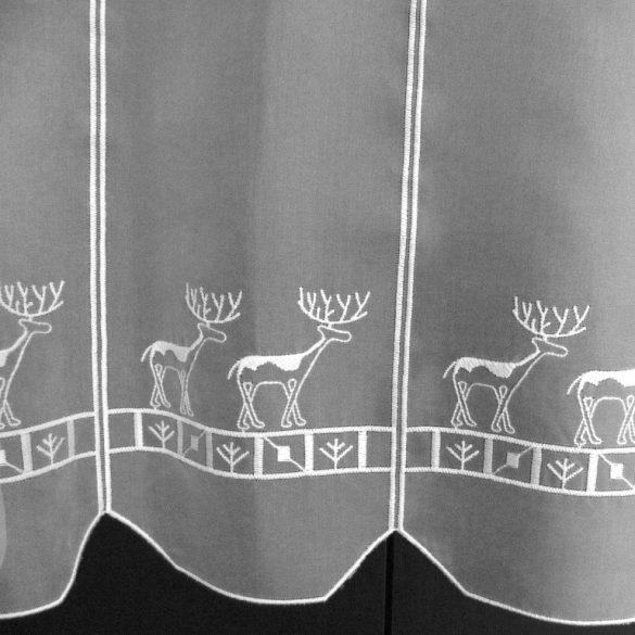 SZARVAS, fehér, karácsonyi hímzett vitrázs függöny, 45 cm magas