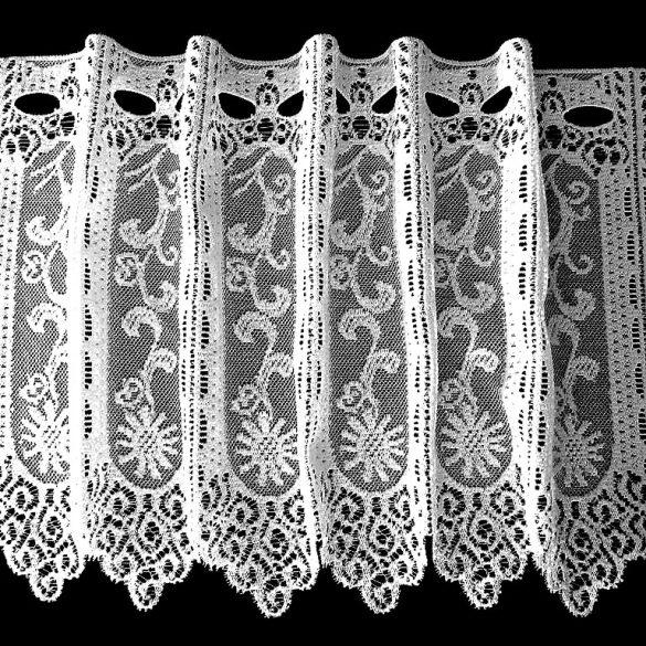 Vitrázs függöny, SZENDRŐ fehér virágos, 30 cm magas