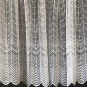 KAPOS, íves mintás, vastag fehér jacquard függöny anyag, 200 cm és 285 cm magas