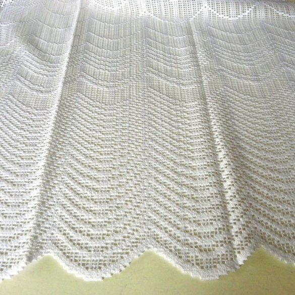 KAPOS, íves mintás, vastag fehér jacquard függöny anyag