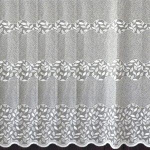 HERNÁD, leveles mintás, bordűrös fehér jacquard függöny anyag, 200 cm és 285 cm magas