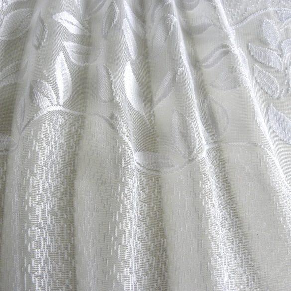 HERNÁD, leveles mintás, bordűrös fehér jacquard függöny anyag