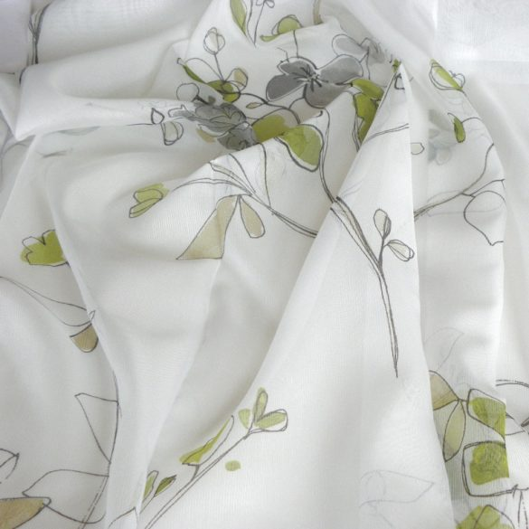 MAGNOLIA, sablé fényáteresztő függöny anyag, oliva-szürke