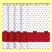 MINNIE, piros pöttyös mintás dekor függöny méteráru