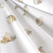 HÍMESTOJÁS, húsvéti, zöld mintás, teflonos abroszanyag, dekorációs textil