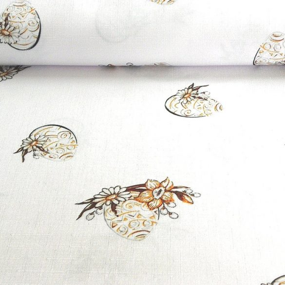HÍMESTOJÁS, húsvéti, bézs mintás, teflonos abroszanyag, dekorációs textil
