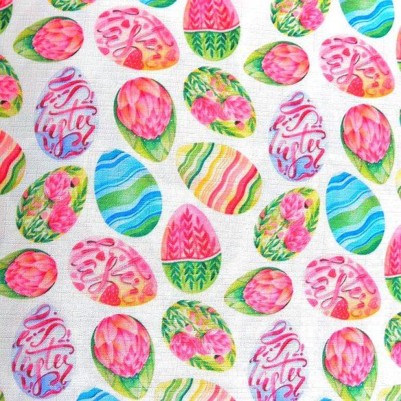 PIROSTOJÁS, húsvéti, tojás mintás, teflonos abroszanyag, dekorációs textil