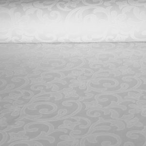 FOBOS, klasszikus mintás, egyszínű, teflonos abroszanyag méteráru, fehér