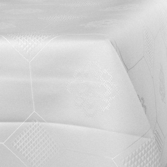 LÍRA, hófehér, azsúrmintás teflonos abroszanyag - utolsó darab: 2,15 m