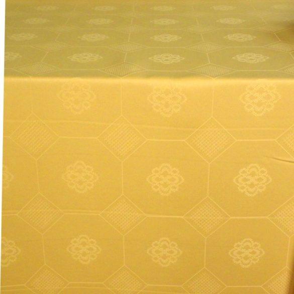 LÍRA, mustársárga, arany, azsúrmintás teflonos abroszanyag