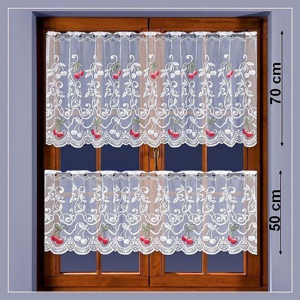 CSERI, cseresznye mintás vitrázs, konyhai függöny méteráru, 50 cm magas
