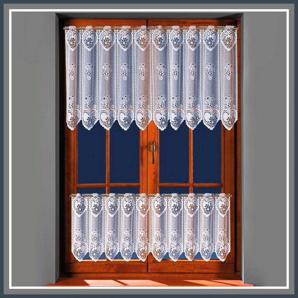 SZÍV mintás, fehér vitrázs függöny, 55 cm magas
