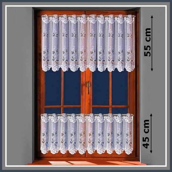 SZITAKÖTŐ mintás, fehér vitrázs függöny, 55 cm magas