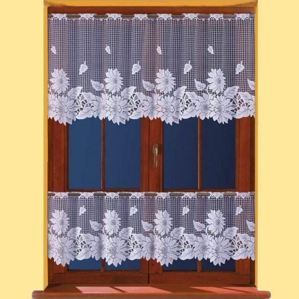 Napraforgó mintás, fehér vitrázs, konyhai függöny méteráru