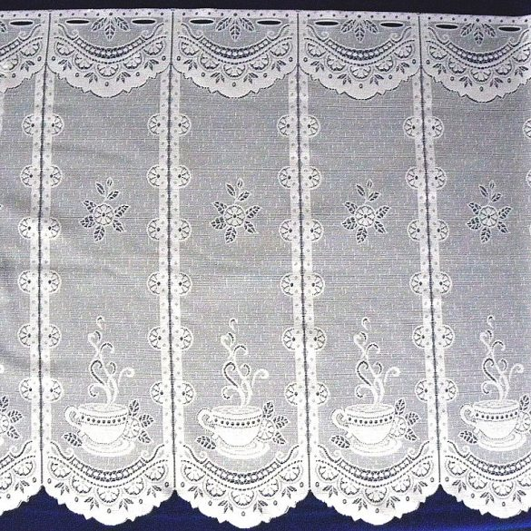 KAWA, kávéscsésze mintás, fehér vitrázs függöny, 65 cm magas