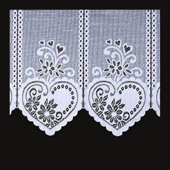 SZÍV mintás, fehér vitrázs függöny, 65 cm magas