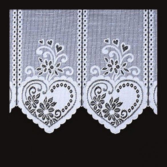 SZÍV mintás, fehér vitrázs függöny, 95 cm magas