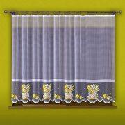 NÁRCISZ, virágkosár mintás jacquard konyhai függöny anyag, 150 cm magas