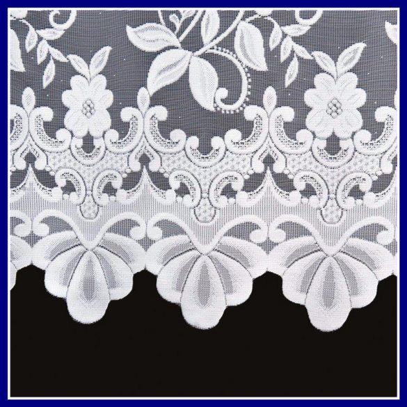 LUDWIKA, dús virágmintás, fehér jacquard panoráma függöny
