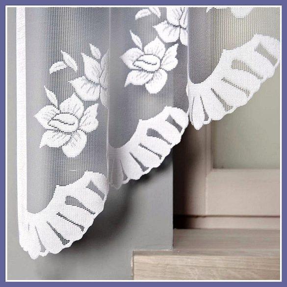 IRENA, nárcisz mintás, fehér jacquard panoráma függöny