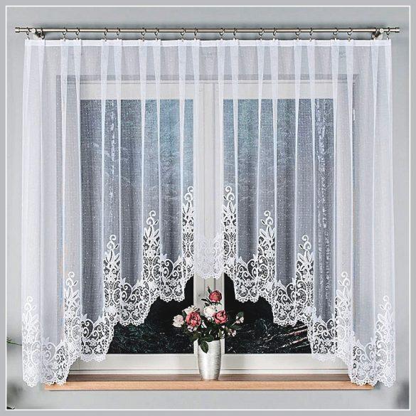 Berenika, alul csipkés fehér jacquard panoráma függöny