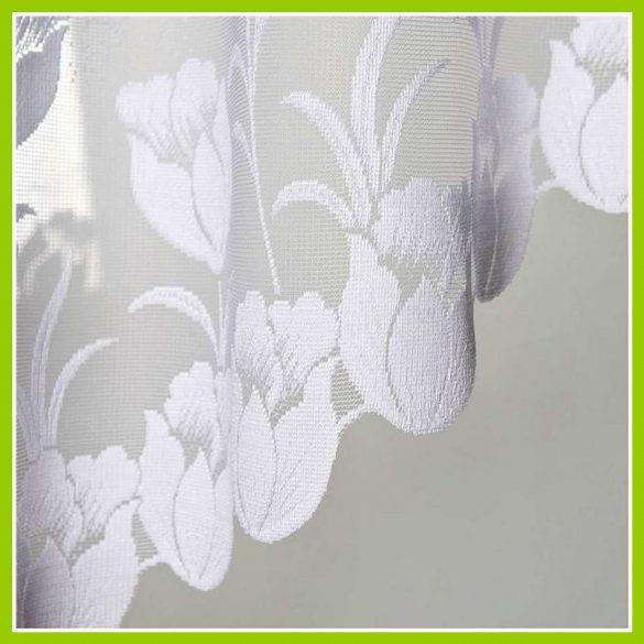 KASIA, tulipán mintás, fehér jacquard panoráma függöny