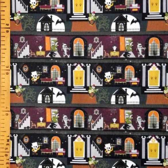 GHOST CASTLE, Halloween mintás prémium pamutvászon