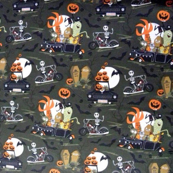 GHOST TRIP, Halloween mintás prémium pamutvászon
