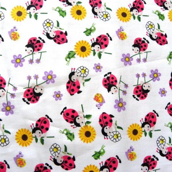 Katicás, virágos mintás gyerektextil pamutvászon