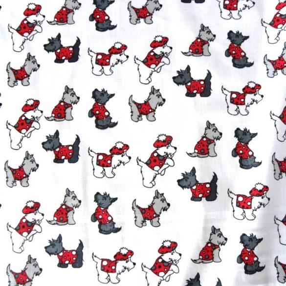 Kalóz, fehér alapon piros mintás pamutvászon