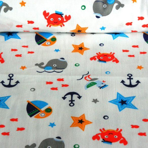 SEAWORLD, tengeri állatos, tenger mintás gyerektextil pamutvászon