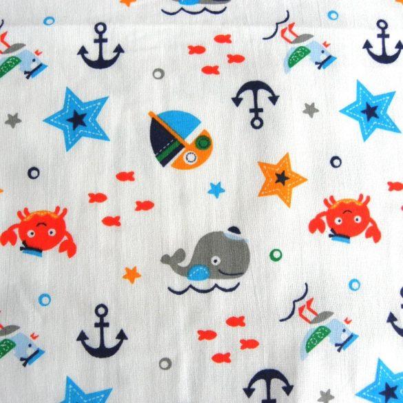 SEAWORLD, tengeri állatos, tenger mintás gyerektextil pamutvászon - maradék darab: 0,5 m