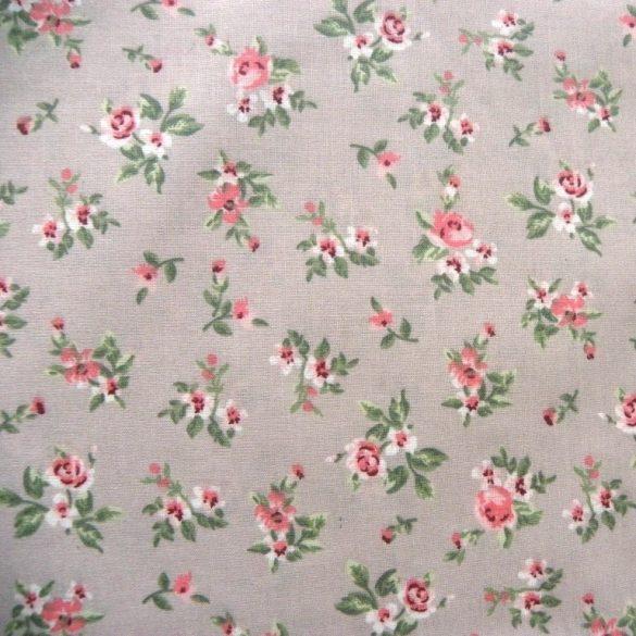 DIANA, drapp, rózsaszín kis rózsás pamut vászon