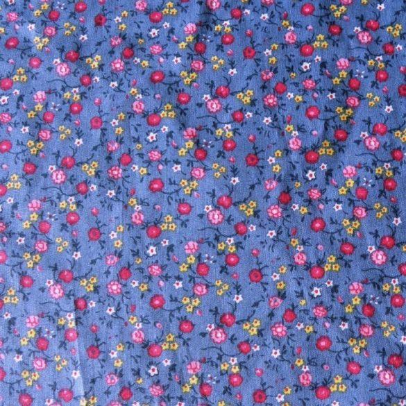 JENNY, apró virágos, farmerkék, pamut vászon