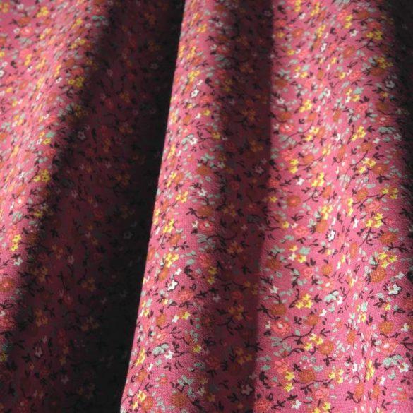 Jenny, apró virágos, málna, mauve pamut vászon