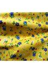 Tavaszi virágos, szívecskés sárga pamut vászon