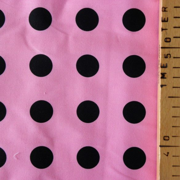 Pink, nagy fekete pöttyös pamutvászon