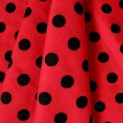 Piros, nagy fekete pöttyös pamutvászon