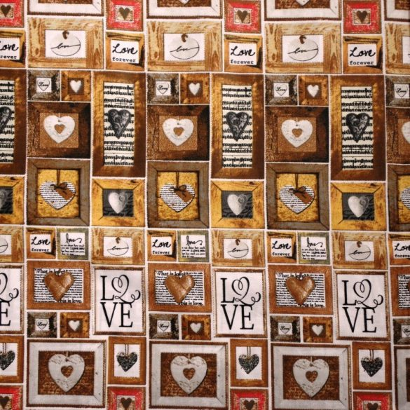 LOVE. drapp, patchwork mintás pamut vászon
