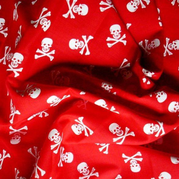 Halálfej mintás, piros extra minőségű pamutvászon - maradék darab: 0,5 m