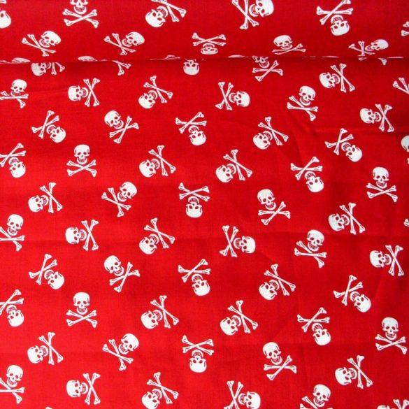 Halálfej mintás, piros extra minőségű pamutvászon