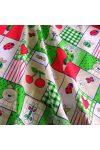 NYUSZKÓ, patchwork, nyuszis, gyerekmintás pamutvászon, zöld