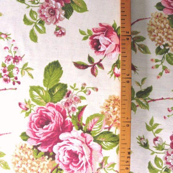 CORNWALL, rózsa mintás lakástextil dekorvászon
