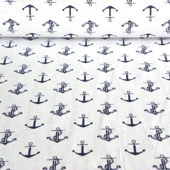 NAUTIC, horgony mintás lakástextil dekorvászon - fehér