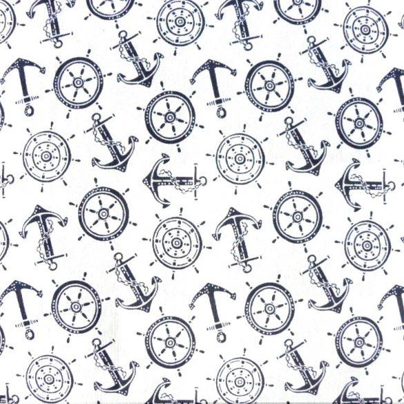 NAVIA, hajós mintás lakástextil dekorvászon - fehér