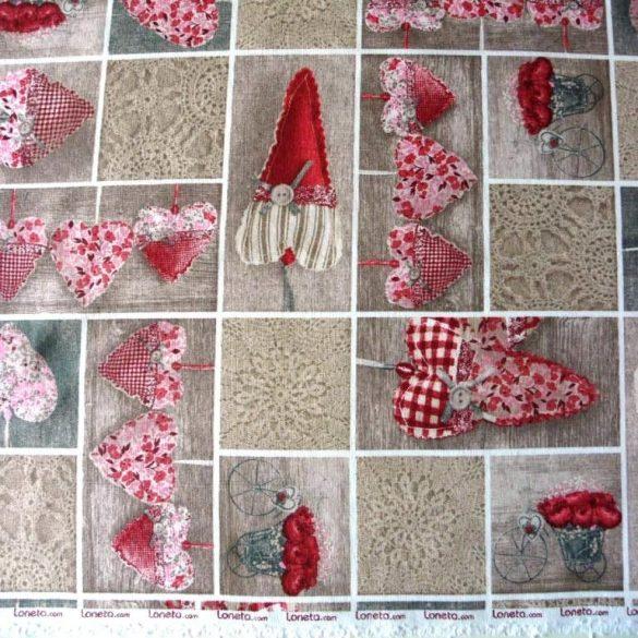 LIDIA, vintázs, patchwork szívmintás, Loneta lakástextil - 401 bordó