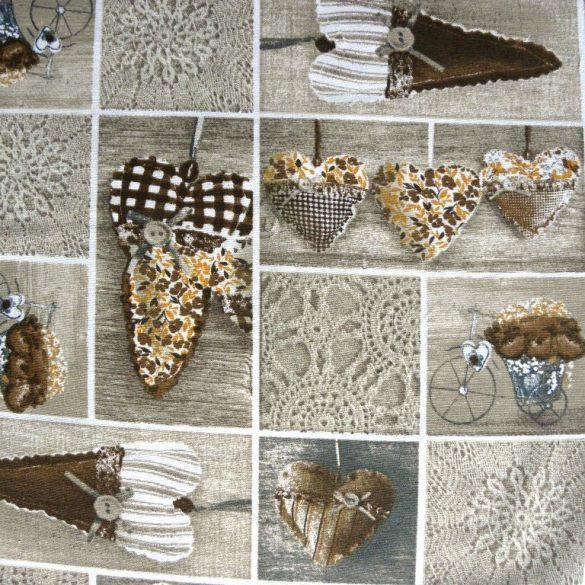 LIDIA, vintázs, patchwork szívmintás, Loneta lakástextil - 801 barna