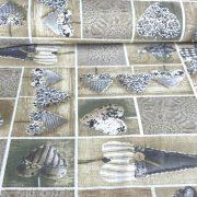 LIDIA, vintázs, patchwork szívmintás, Loneta lakástextil - 802 szürke