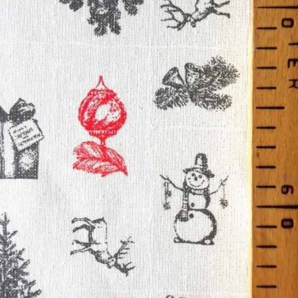 SNOWMAN, karácsonyi mintás, ezüst lurexes, ünnepi terítő, dekoranyag